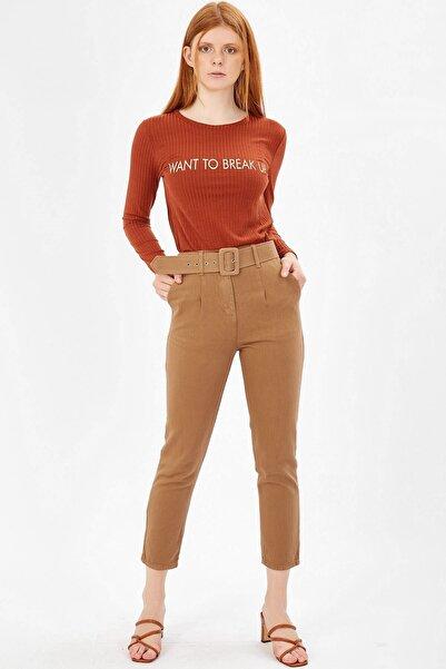 Arma Life Kadın Camel Kaplama Kemerli Gabardin Pantolon