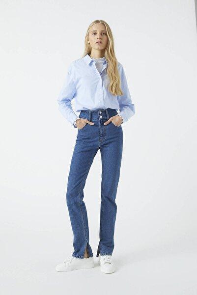 Pull & Bear Kadın Mavi İki Düğmeli Yüksek Bel Jean 09683342