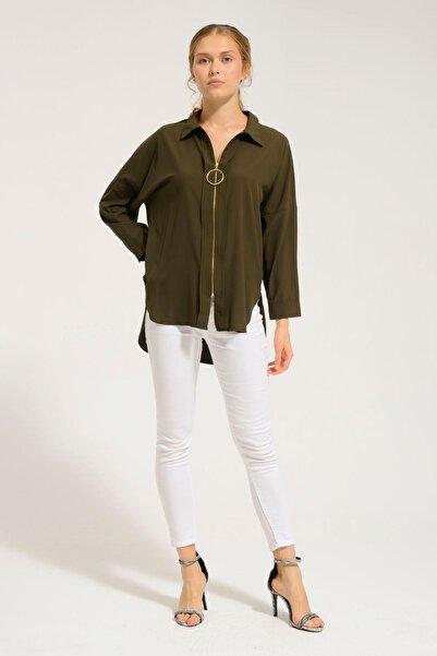 Batik Kadın Haki Düz Casual Uzun Kol Gömlek Y42566
