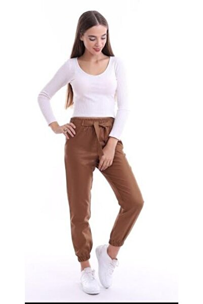 She Kadın Kahverengi Pamuklu Paça Kısmı Lastikli Pantolon