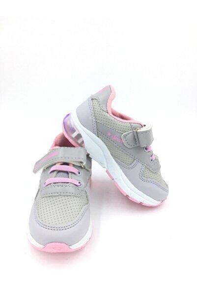 Papion Işıklı Gri-pembe Kız Çocuk Spor Ayakkabı
