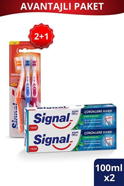 Signal Çürüklere Karşı Diş Macunu 75 Ml X2 Adet + Performans Diş Fırçası 2+1