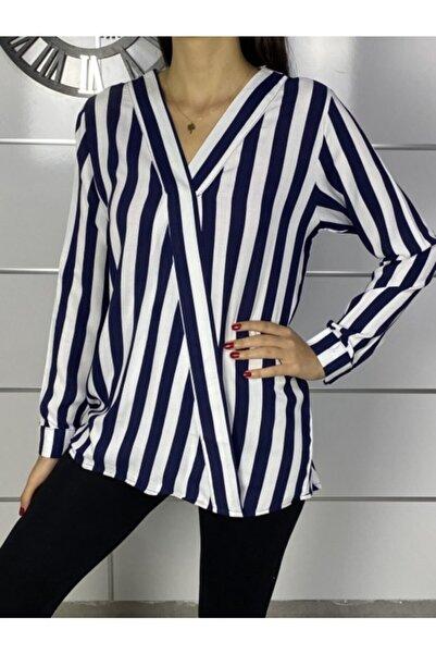 ELBİSENN Yeni Model Kadın V Yaka Çizgili Asimetrik Bluz
