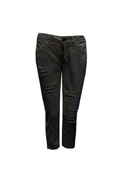 GEBE Kadın Siyah Büyük Beden Yırtık Efektli Pantolon