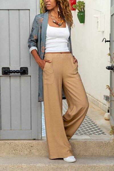 Güneşkızı Kadın Bej Keten Beli Lastikli Salaş Pantolon GK-BST2933