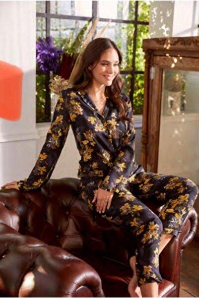 Eros Pijama Kadın Siyah Vual Gömlek Yaka Pijama Takım Esk27610