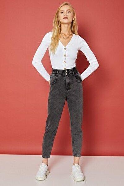 Kadın Füme Beli Büzgülü Çift Düğmeli Pantolon