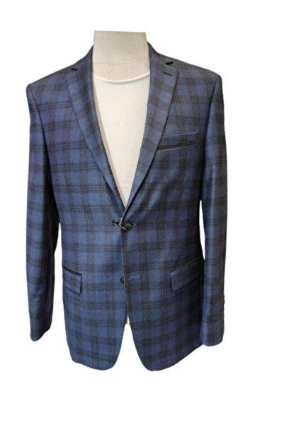 Uptown Erkek Mavi Çift Düğme Tek Yırtmaç Kaşmir Ceket