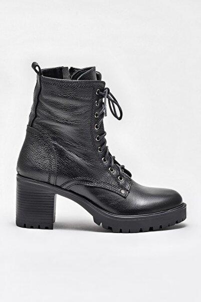 Elle Shoes SHEONA Hakiki Deri Siyah Kadın Bot