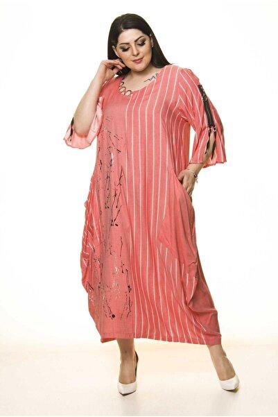 Moday Kadın Kırmızı Cepli Büyük Beden Tarz Elbise G10-1666