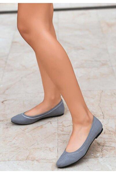 ESPARDİLE Gri Süet Babet Ayakkabı