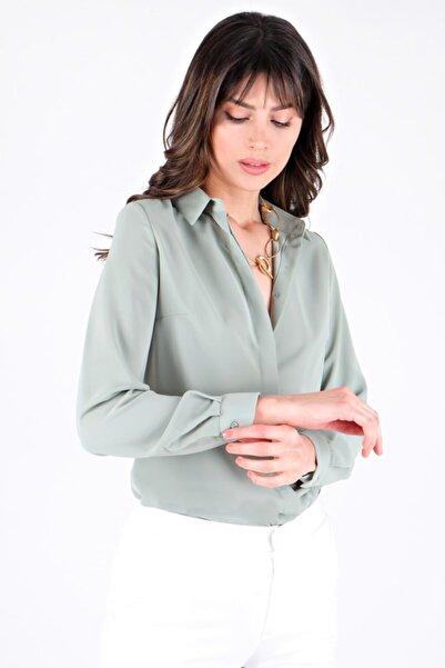 Spazio Kadın Yeşil Lluvy Uzun Kollu Düğmeli Bluz 30093586