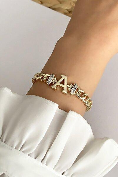 Çlk Accessories Gold A Harf Bileklik Trbilek7541 B34003