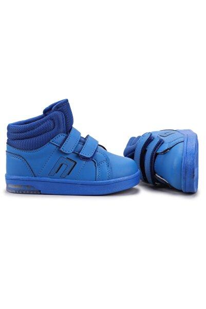 Potincim Kids Pkmn Boğazlı Cırtlı Işıklı Ünisex Çocuk Spor Bot Ayakkabı Saks