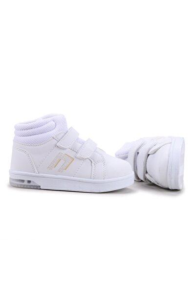 Potincim Kids Pkmn Boğazlı Cırtlı Işıklı Kız/erkek Çocuk Spor Bot Ayakkabı Beyaz