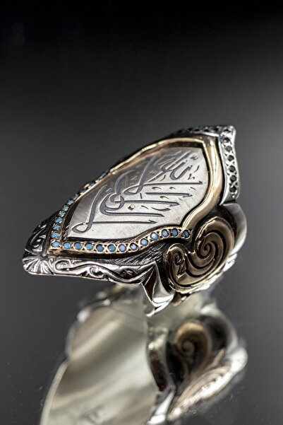 OSMANLI GÜMÜŞ Allah Yazılı Firuze Taşlı 925 Ayar Gümüş Erkek Yüzük Zihgir