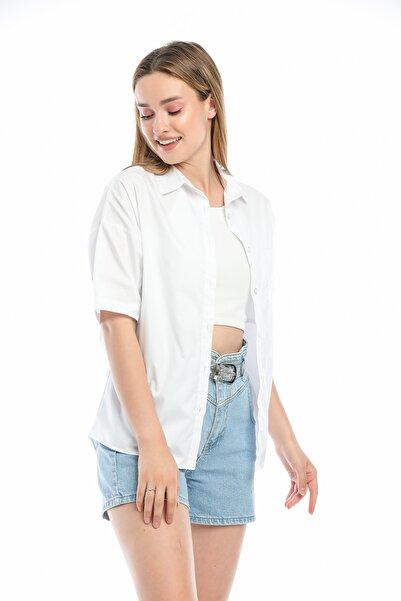 MODARC Kadın Beyaz Pamuklu Yarasa Kol Oversize Gömlek