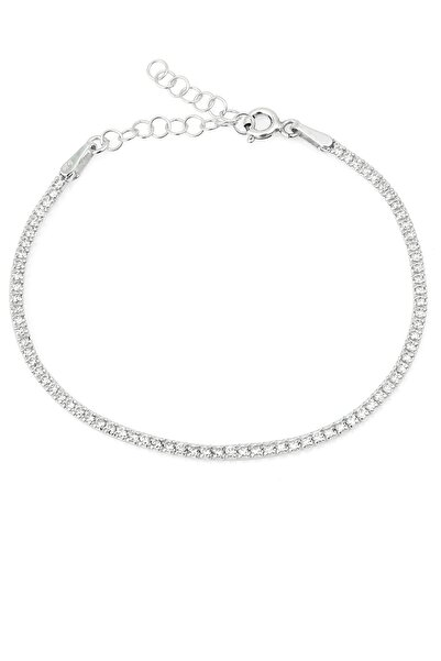 Elika Silver Kadın Beyaz Zirkon Taşlı Su Yolu Kadın Gümüş Bileklik