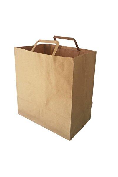 Kraft Flat Saplı Kağıt Çanta 33x33x20 - 100 Adet Kağıt