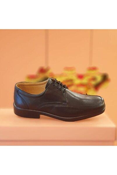Esse Comfort Sistem Doğal Deri Siyah Bağcıklı Esnek Rahat Ve Taban Günlük Erkek Ayakkabı 854