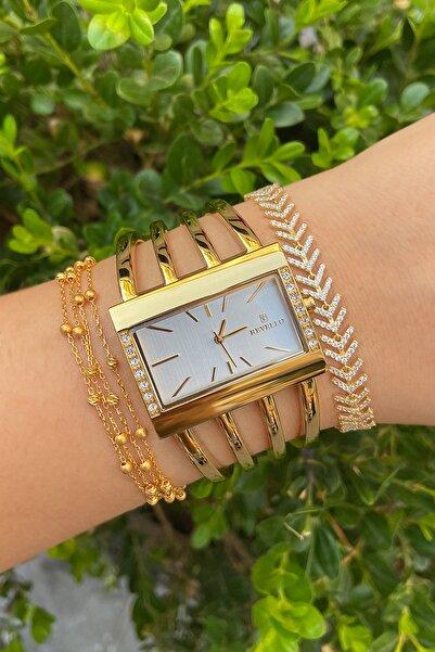 Revello Kadın Altın Kaplama Kaburga Saat