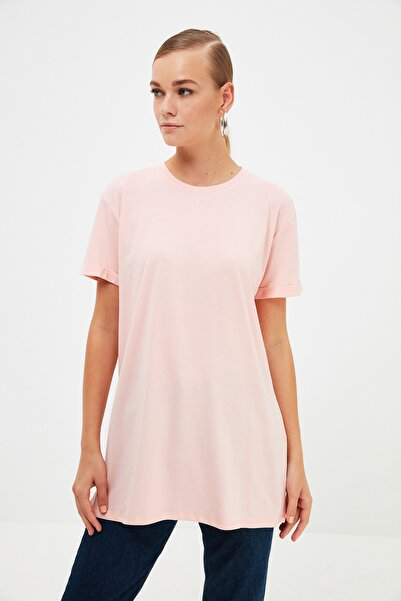 Trendyol Modest Pudra Basic Kısa Kollu Örme T-Shirt TCTSS21RT0001