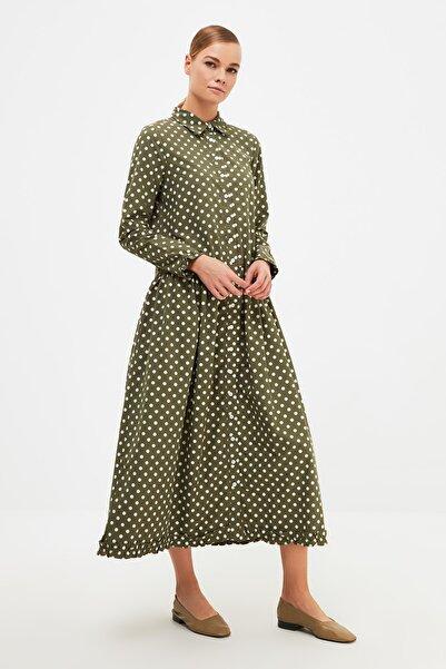 Trendyol Modest Haki Gömlek Yaka Tesettür Elbise TCTSS21EL4153