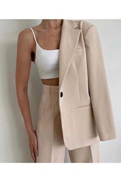 Kadın Bej Retro Palazzo Ceket Pantolon Takım