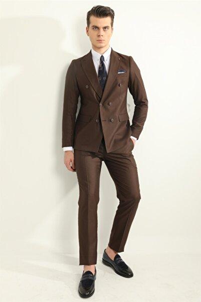 Fc Plus Kahve Kruvaze Erkek Takım Elbise - Slım Fıt