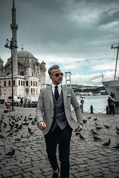 Fc Plus Erkek Siyah Kombinli Yelekli Takım Elbise