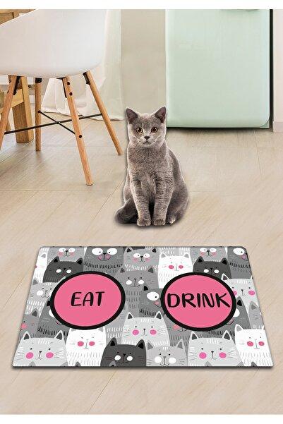 Chilai Home Pvc Cats Gri Kedi Köpek Mama Paspası