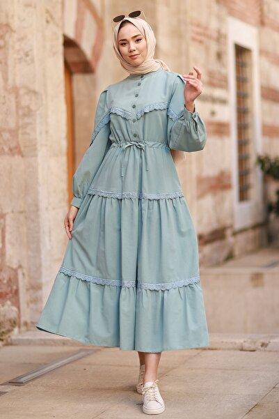 InStyle Güpür Detay Balon Kol Elbise - Mint