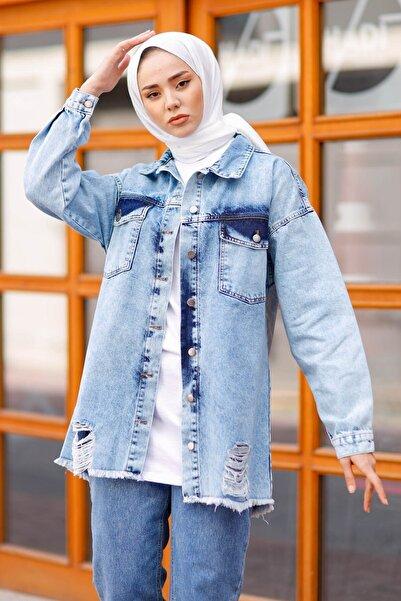 InStyle Yırtık Detaylı Kot Ceket - Buz Mavisi