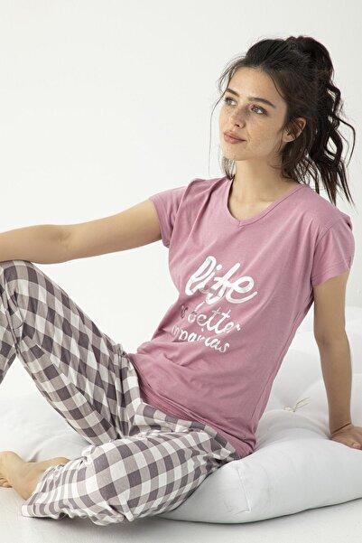 Mirano Kadın Kısa Kollu Love Baskılı Pijama Takımı Mor Homewear Ev Kıyafeti 3653