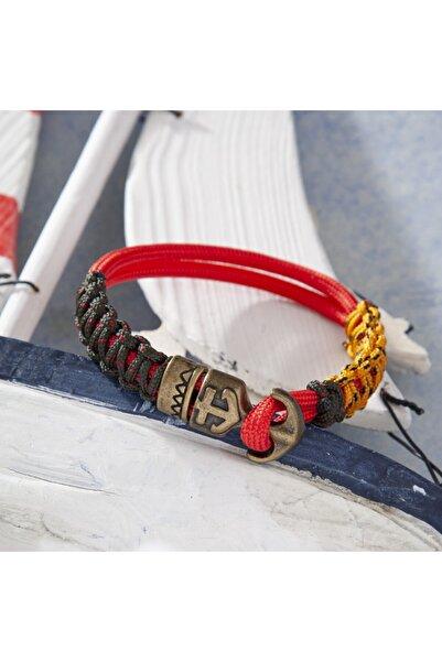Duruj Double Anchor - Kırmızı, Şık Tasarıma Sahip, Yüksek Kaliteli Ve Dayanıklı Paracord Bileklik