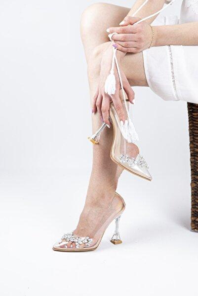 BuseUysl Kadın Taşlı Ten Şeffaf Topuklu Ayakkabı