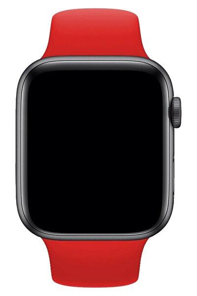 Apple Watch 1 2 3 4 5 6 Se 44 Mm Silikon Ayarlanabilir Kordon Kırmızı + Popsocket