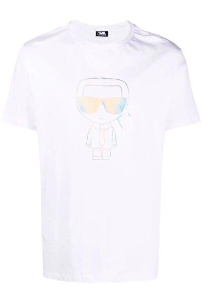 Karl Lagerfeld Metalik Baskı Sheen Beyaz T-shirt