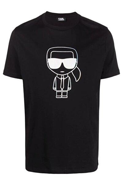 Karl Lagerfeld Metalik Baskı Sheen Siyah T-shirt