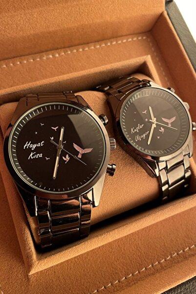 Gold Time Martı Desenli Sevgili Saatleri Çift Kombini