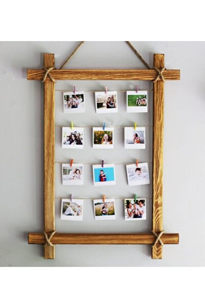 BambaPaw 15 Adet Mini Mandallı Fotoğraf Asmalık Ipli Tahta Çerçeve Dekoratif Çerçeve Ipli Ahşap Resimlik