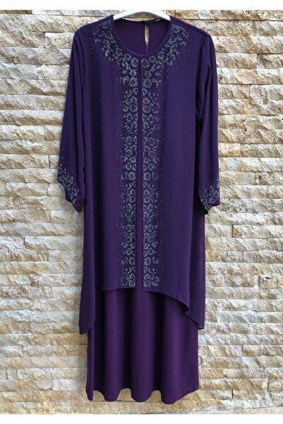 papilla Büyük Beden Elbise 9131 Mor