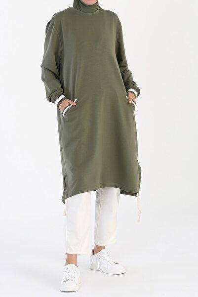 ALLDAY Kadın Yeşil Büyük Beden Cepli Ribanalı Tunik
