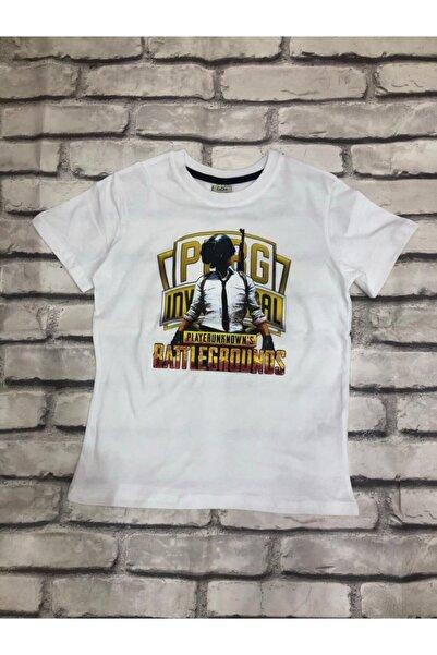 PUBG Unisex Çocuk Beyaz T-shirt