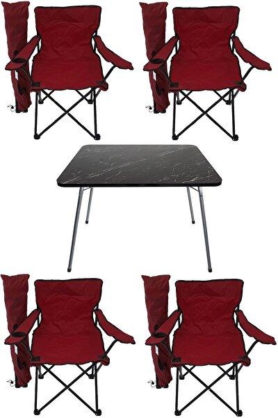 Bofigo Kırmızı  Granit Katlanır Masa 4 Adet Kamp Sandalyesi Katlanır Sandalye Piknik Plaj Sandalyesi 60x80