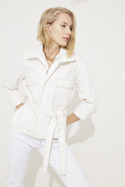 adL Kadın Kemik Beli Kuşaklı Cepli Jean Ceket