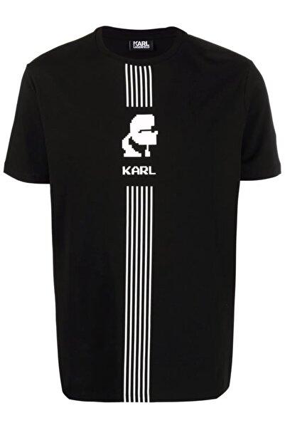 Karl Lagerfeld Şerit Logo Baskı Siyah T-shirt