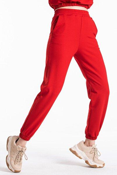 CAYA Kadın, Kırmızı Renk, Yüksek Belli, Jogger Eşofman Altı