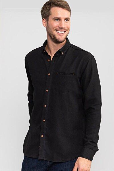 Tudors Klasik Fit Rahat Kesim Siyah Armürlü Kışlık Gömlek