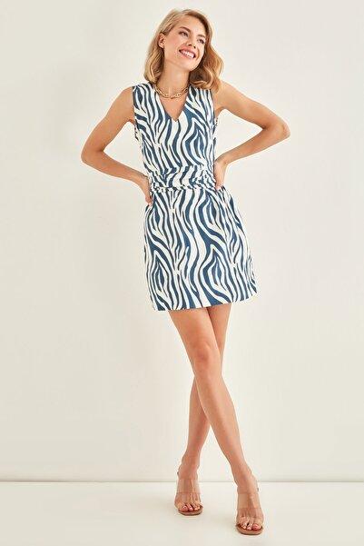 Vitrin Zebra Desenli V Yaka Elbise